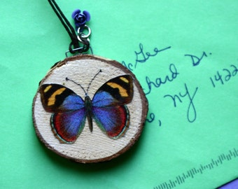 Wood slice ornament, Christmas, purple, blue butterfly, small birch slice, decoupage, wall art, colorful, nature, natural