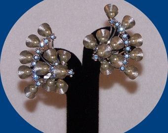 Vintage Estate, Silver tone Clip Earrings with blue Rhinestones & Faux Pearls.