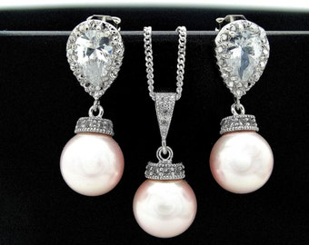 Bridal Earrings Pearl Bridesmaid necklace and earrings set Pink pearl necklace and Earrings Bridesmaid Gift Wedding Jewelry Sterling silver