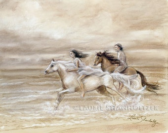 "Horses, Beach, Seascape, couple, romantic art,  Monotone illustration ""Chasing the Wind"" art paper or canvas, Laurie Shanholtzer,"