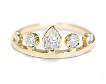 Pear Diamond Crown Engagement Ring - Unique Engagement Rings - Pear Shaped Diamond - Crown Ring