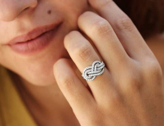 Gold Wedding Band Double Infinity Knot Ring By