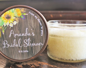 Rustic Bridal Shower Sugar Scrub Favor//Set of 12//Sunflower Favor//Rustic Bridal Shower Favor/Mason Jar Favor//Personalized Favor//