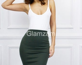 Glamzam New Womens Ladies Khaki Green Olive Stretch Bodycon Midi Pencil Knee Length Skirt