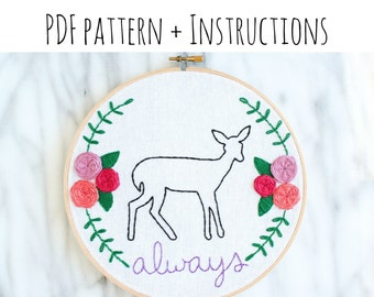 """PATTERN: Snape's Patronus """"Always"""" Hand Embroidery Pattern with Instructions"""