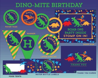 INSTANT DOWNLOAD - Dinosaur Birthday Party, Dinosaur Party Printables, Dinosaur Decorations, Dino Birthday Party Decor