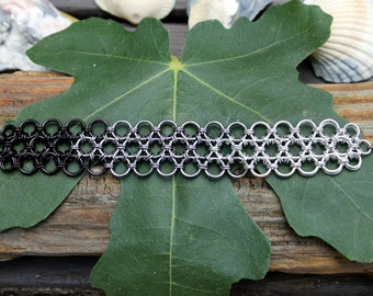 Japanese Lace Chainmaille Bracelet, Ombre Silver Gunmetal Black, Chain Mail, Metal Lace, Durable