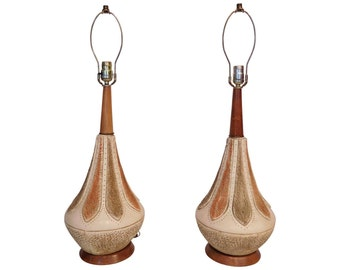 Pair Mid Century Modern 70s Retro Ceramic Teardrop Patterned Rosewood Lamps