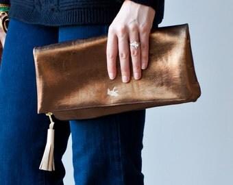 leather clutch, folded clutch, bronze clutch, bronze leather clutch, metallic clutch bag, everyday clutch, evening clutch, the 'Kate'