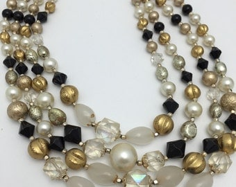 Vintage Beaded Necklace Multi Strand Necklace black gold and white necklace