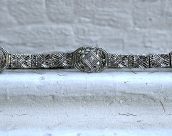 Lovely Deco Vintage 14K White Gold Filigree Diamond and Sapphire Bracelet.