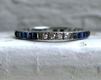 RESERVED - Stunning Vintage 18K White Gold Sapphire and Diamond Wedding Band - 0.84ct.