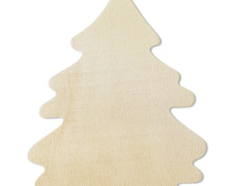 10 Wood Tree Cut-Outs - 4  1/8 Inch Natural Unfinished Wood Ready to Embellish for Holiday Crafts