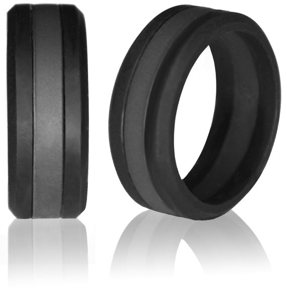 Black Slate Band : Silicone wedding ring by knot theory safe knotheory