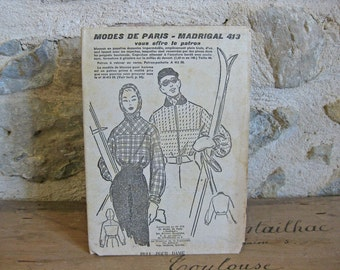 1950s sewing pattern for skiwear Modes de Paris - Madrigal 413