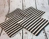 Black and White Stripe Fabric Coaster Set - Black Fabric Coaster - Set of Four