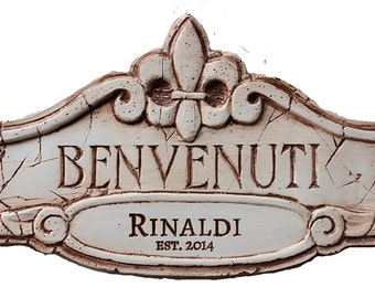 Benvenuti Italian Welcome Sign Personalized with your name