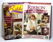Ribbon Embroidery Patterns, Set of Two Publications, Australian Embroidery Magazines, Embroidery Projects for Gifts, Weddings, Home Decor