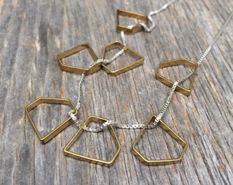 brass DIAMONDS sterling silver layering necklace