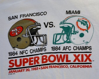 1984 Super Bowl San Francisco 49ers Miami Dolphins Jersey Deadstock 50/50 T-Shirt Size S Trench NFL Football
