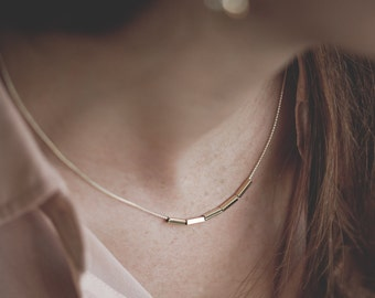 Constellation necklace. Tiny tubes geometric Necklace 18kt Gold Filled