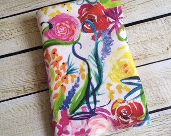 Organic Cotton Knit Water Color Floral Swaddle Blanket. Newborn, Baby Photo Prop, Baby Shower Gift, Swaddling Blanket