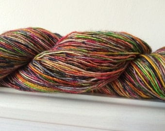 "Hand Dyed Single Merino Silk Yarn ""Riot Of Colour"" 100g 400m Sock / Fingering"