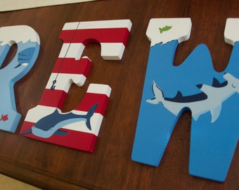 Shark Bite Hand Painted Boy Letters, Shark theme decor