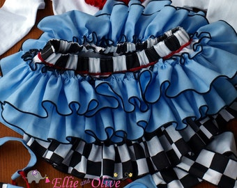 Queen of Hearts Dress Bloomer Alice in Wonderland Inspired Disney Birthday Party Theme Ruffle Bloomer Skirt Mad Hatter Baby Toddler