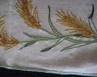 Vintage Linen Embroidered Set-Placemats / Napkins/ Coasters, 12 piece set-Wheat Motiff