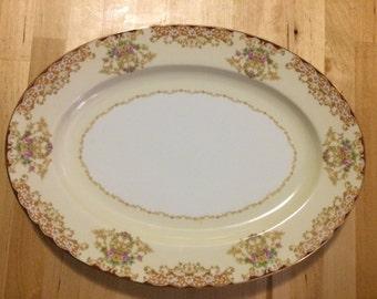 """Noritake Rosebud 6002 11"""" Oval Serving Platter"""