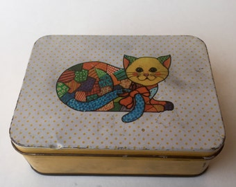 Vintage Patchwork Kitty Sewing Tin