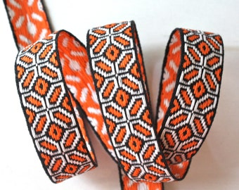 "Vintage Ribbon - 7/8"" x 2 yds Woven Jacquard in Black, Orange and White"