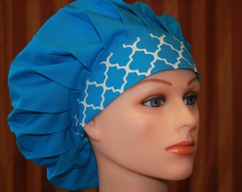 Bouffant Surgical Scrub Hat/Chef Hat--CIEL Blue with ASSORTED Headband