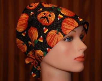 Tie Back Scrub Hat/Chemo Hat/Womens scrub hat/Surgical Scrub Hat--Jack-O-Lantern's Grin