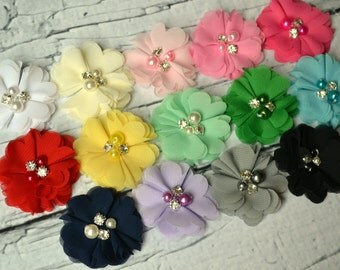 The Anna Collection - Petite Chiffon Flowers with Pearl and Rhinestone Centers - Headband Flower - DIY Baby Hair Clip - Wedding Flowers
