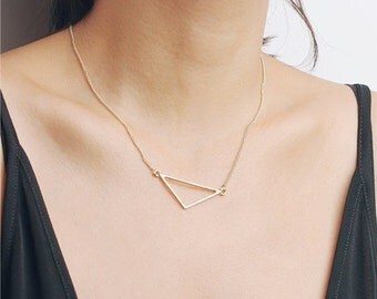 ON SALE Delicate simple everyday open large triangle necklace