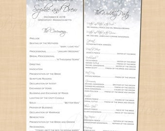 Silver Shimmer Wedding Programs, Long (4.25x11, Portrait): Text-Editable in Microsoft® Word, Printable Instant Download