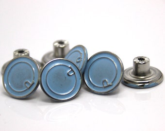 10 pcs Blue and Silver Round Buttons Rivets Studs Denim Tack Buttons Hammer On
