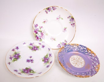 Vintage Purple Floral Saucers Set of 3 Staffordshire China England Lefton Japan Tea Party