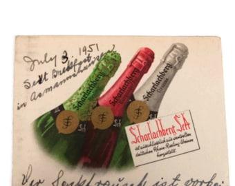 Vintage 1951 German Post Card Wines Scharlachberg Wines