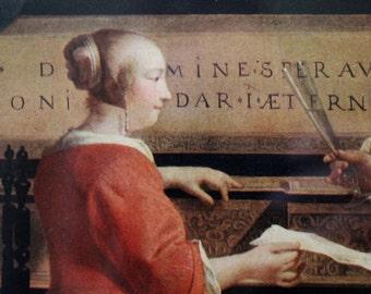 Vintage Gabriel Metsu The Music Lesson framed art print / Dutch masters realist art / genre scenes art / 17th century Dutch portrait artist