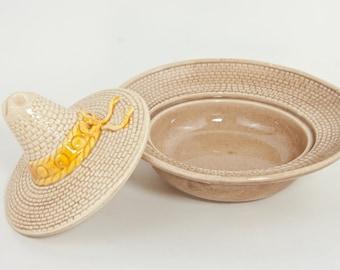 Vintage Mexican Hat Salsa Dish, Vintage Southwestern Hat Dish