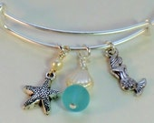 SALE! Mermaid and starfish charm bangle bracelet, seashore aqua and pearl sea glass adjustable charm bracelet expandable sea themed, ocean