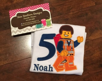 Lego man birthday shirt
