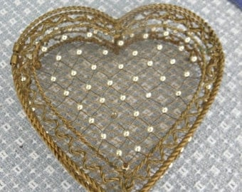 20% OFF Vintage Valentines Heart Shaped Brass & Silver Box, Brass Accessory, Make-up Box