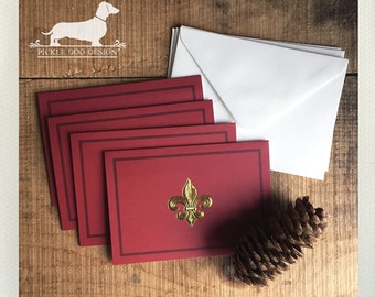 CLEARANCE! Foil Filigree. Note Cards (Set of 4) -- (Vintage-Style, Baroque, Christmas Card, Rustic, Red, Thank You, Simple, Bridal Shower)