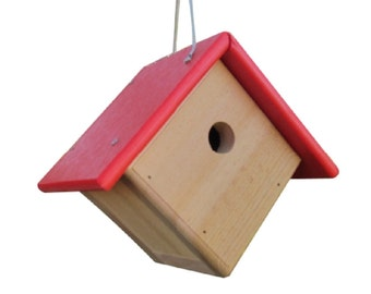 JCs Wildlife Cedar & Poly Wren/Chickadee/Warbler Birdhouse, Red Roof