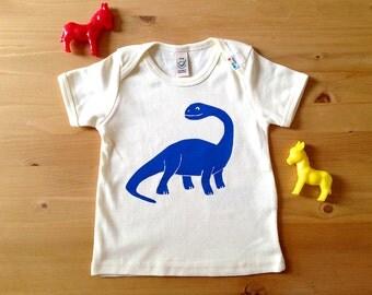 Funny Baby T-shirt, Dinosaur Baby T-shirt, Brontosaurus T-shirt, Organic Baby Tshirt, Blue Dinosaur Baby Tee, Baby Shower Gift, Baby Boy Tee