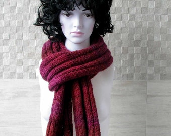 Soft and comfortable burgundy knit Men's Scarf . Perfect knit accessories for cool days. knit mens scarf